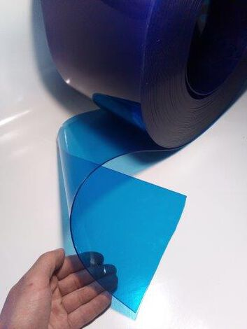 PVC-Lamelle BLAU-transparent, Meterware, 20 cm, 2 mm